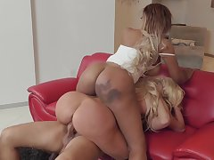 Fat ass ebony shares it wild with the hot blonde