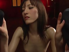 Iioka Kanako loves nothing more than sucking two dicks sought after
