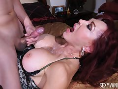 young dude gets his penis blowed by his horny milf collaborate Sexy Vanessa
