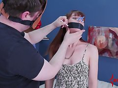 Red haired babe gets her anus toyed and fucked apart from four kinky dude in mask