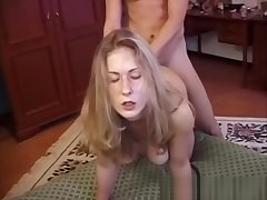 Vintage bigtit euro riding on older mans load of shit