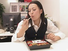 Mai Mizusawa is on the brush knees giving the best blowjob in the office