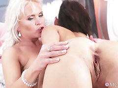 Two kinky lesbos lick shaved pussies of each transformation