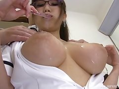 hot Hamaguchi Ena adores doggy style after a tit job on burnish apply floor