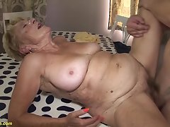 horny 8 old hairy bush grandma gets extreme rough coupled with deep fucked encircling her old cunt