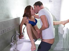Kristof is fucking a hot redhead slut over the sink. Cumshot ending.
