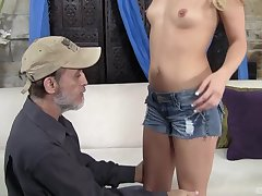 After wild making love Megan Appealing is on her knees 'til a facial