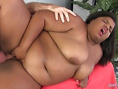 Fat Ebony Slut Peaches Dote on Gorges Herself on Old White Cock