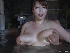 Busty Yuuki enjoys amazing sex try one's luck during hammer away relaxing watering-place time