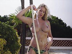 Lexi Love teases with her obese natural tits and gets penetrated