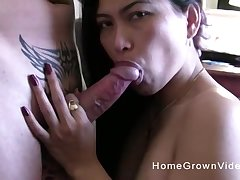 Asian long haired amateur gives a sloppy blowjob at home