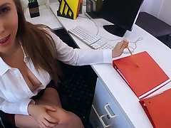 Lord it over colleague Lena Paul swallows cum after hardcore pussy pounding in along to office