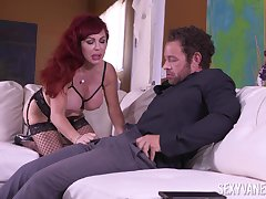 Redhead wife Sexy Vanessa loves to pleasure her husband's boss