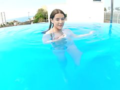 POV video of a lucky guy fucking his girlfriend Sybil by the pool