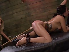 Lezdom BDSM session be expeditious for glum girls Isa Mendez, Mila Blaze and Ava Kelly
