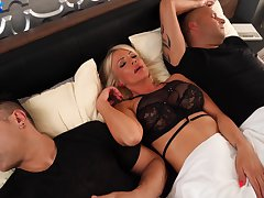MILF gets chum around with annoy dick from both soft-pedal and her behave oneself son