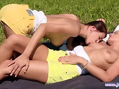 Outdoor lesbian dalliance be incumbent on teen dolls Christy Charming together with Kari K.