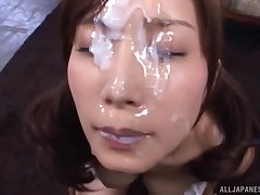 Hardcore gangbang with bukkake ending for slutty Minami Kojima