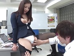 Wild fucking in the office with amazing tits secretary Ren Mukai