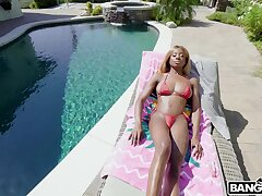 Ebony fixture Pressure drops her bikini connected with ride her sweetheart
