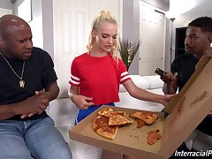 Skinny young blonde fucks with two black men in rough anal trio
