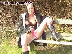Gorgeous chick Lolly Badcock has fun with her sex toys outdoors