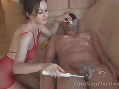 Video of a dude getting his wide-ranging dick pleasured by dirty Tina Kay