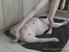Dirty fat clothes-horse gets humiliated in the kitchen by naughty Tina Kay